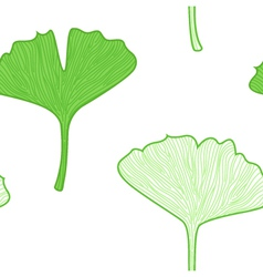 Gingko leaves seamless pattern interior wallpaper vector