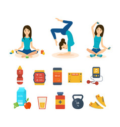 Girl involved in sport yoga different positions vector