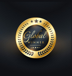 global winner golden label design vector image