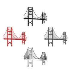 golden gate bridge icon in cartoonblack style vector image