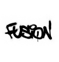 Graffiti fusion word sprayed in black over white vector