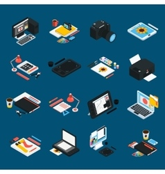 Graphic Design Isometric Icons vector
