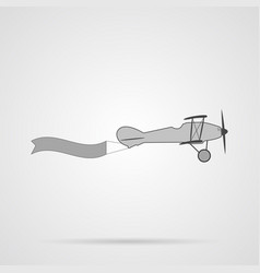 Gray retro plane with banner flat icon vector