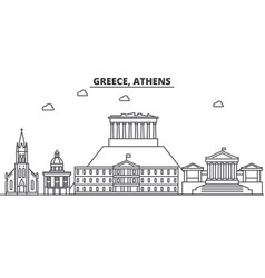 Greece athens architecture line skyline vector