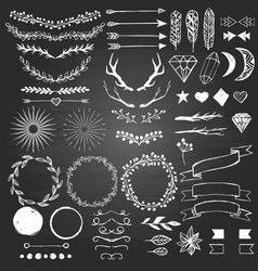 hand drawn decoratin elements on blackboard vector image