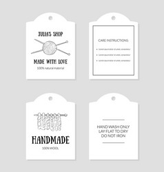 handmade with love paper tags with care vector image
