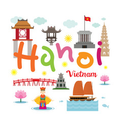 hanoi vietnam travel and attraction vector image