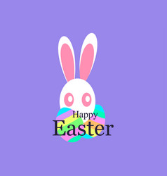 happy easter holiday card with easter bunny and vector image