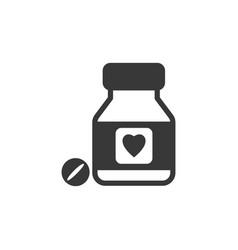 Heart pills flat icon pharmacy and medicine vector