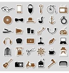 Hipster theme and culture set of stickers eps10 vector