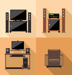 Home tv decoration set flat style Digital image vector image