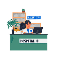 Hospital reception front desk at clinic - woman vector