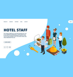 hotel staff landing page isometric vector image