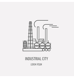 Industrial factory logo template Linear badge vector