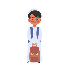 Islamic boy with backpack goes to school flat vector