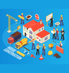 isometric house building composition vector image