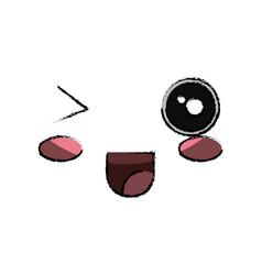 kawaii happy face icon vector image