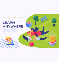 Learn anywhere with flat laptop vector