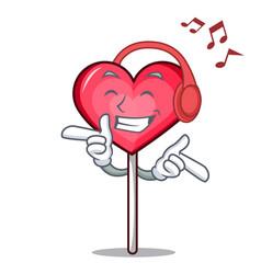 Listening music heart lollipop mascot cartoon vector