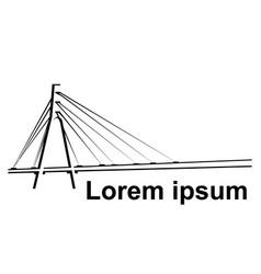 logo black and white bridge on white background vector image