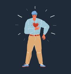 man having heart or panic vector image