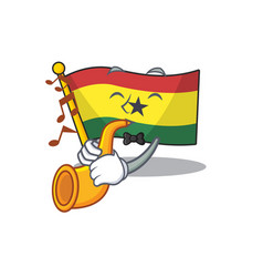 Mascot cartoon flag ghana in with with trumpet vector