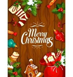 Merry Christmas greeting poster card vector image