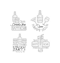 monochrome promotional signs for cocktail bar or vector image