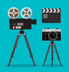 Movie and photo film cameras set on tripods vector