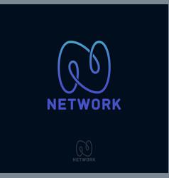 n letter monogram loop network vector image