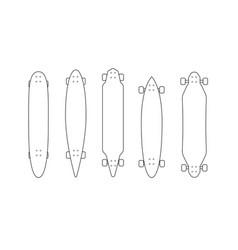 Outline black longboard icon set vector