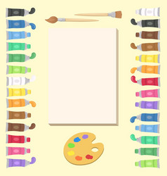 paint art supplies set vector image
