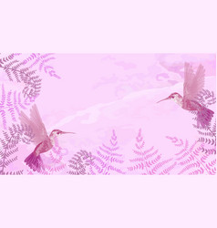 pink background with hummingbirds and ferns vector image