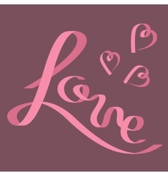 pink satin ribbon in shape word love three vector image