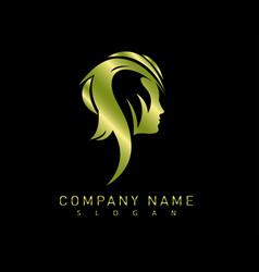 profile gold woman logo vector image