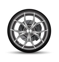 realistic car wheel alloy black tire disk brake vector image