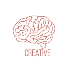 Red brain like creative ideas vector