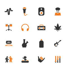 Reggae icons set vector