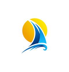 Sailing boat logo yacht sailboat sunset logo icon vector