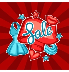 Sale banner with female clothing and accessories vector