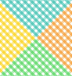 Seamless diagonal gingham pattern in four colors vector