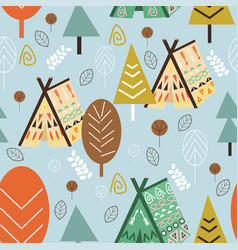 Seamless pattern forest in scandinavian style vector