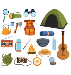 set items for camping a collection cartoon vector image