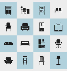 set of 16 editable interior icons includes vector image