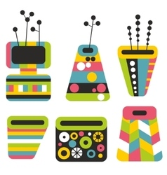 Set of colorful vases vector
