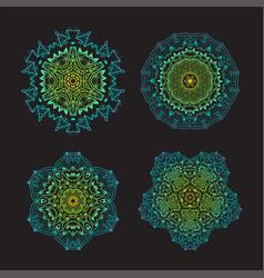 Set of ethnic fractal mandala tattoo design looks vector