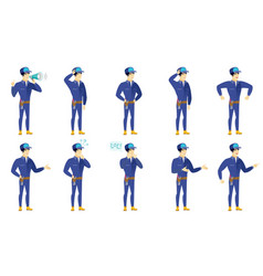 set of mechanic characters vector image