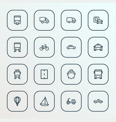 Shipment icons line style set with autobus vector