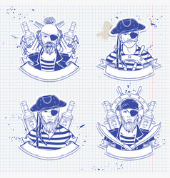 sketch set pirate vector image