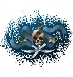 Skull sabers and ribbon vector